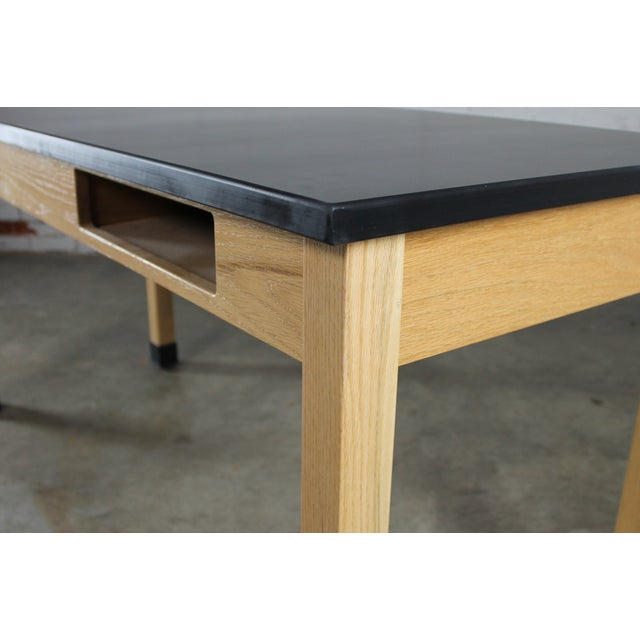 Industrial Laboratory Table, Oak With Black Epoxy For Sale - Image 9 of 12