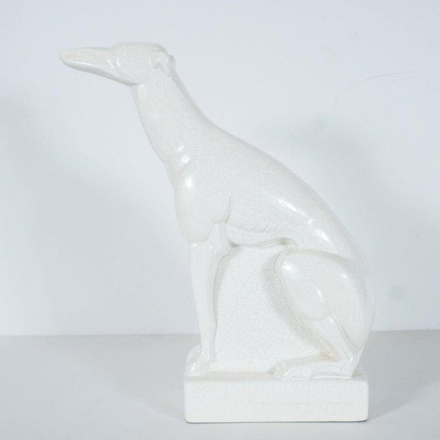 White French Art Deco Craqueleur White Ceramic Greyhound Signed by Charles Lemanceau For Sale - Image 8 of 10
