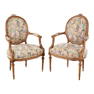 Pair of French Louis XVI Style Carved Fauteuil Armchairs For Sale