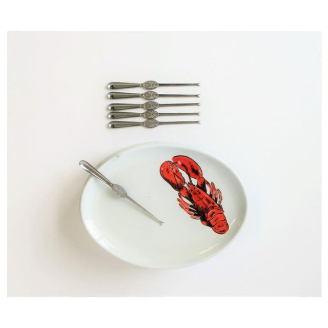 American Vintage Designer Italian Lobster Plates With Forks From Sweden - Set of 6 For Sale - Image 3 of 13