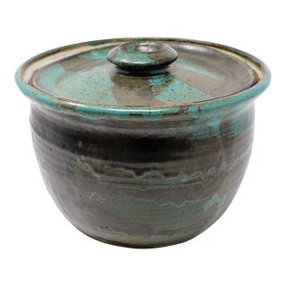 Boho Chic Studio Pottery Large Jar With Lid For Sale