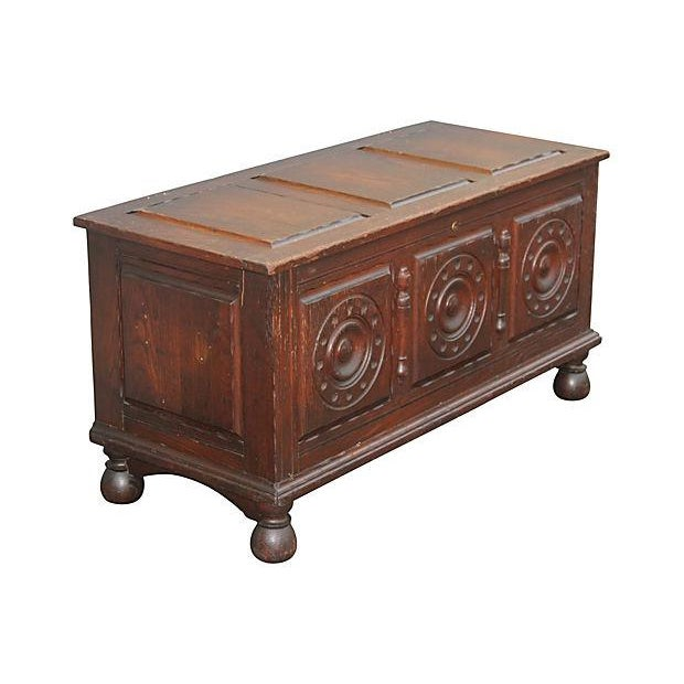 Antique Carved Paneled Cedar Chest - Image 2 of 7