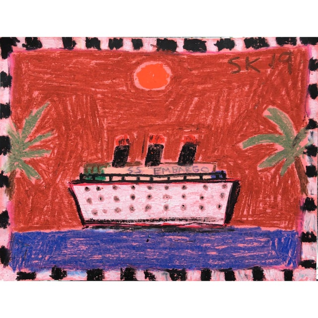 Abstract 'Ss Embargo' Oil Pastel Drawing by Sean Kratzert For Sale - Image 3 of 3