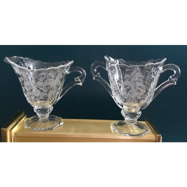 Art Nouveau Etched Crystal Sugar Bowl and Creamer For Sale - Image 4 of 4