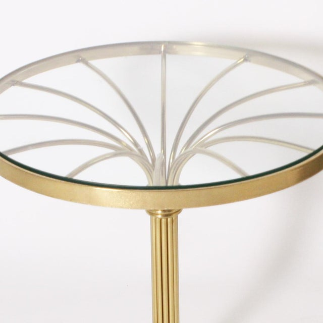 Hollywood Regency Italian Round Brass Gueridon Table C. 1970 For Sale - Image 3 of 6