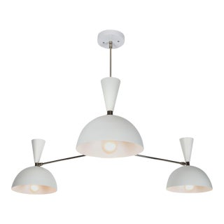 Large Three-Cone 'Lola II' Chandelier in White and Chrome For Sale