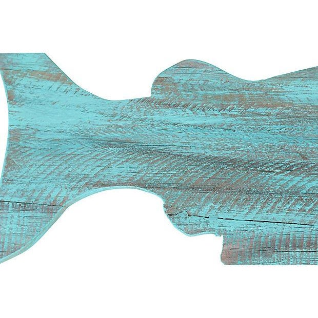 Turquoise Painted Reclaimed Wood Fish Cutout - Image 4 of 4