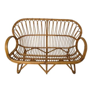 Sculpted Rattan Franco Albini Style Settee For Sale