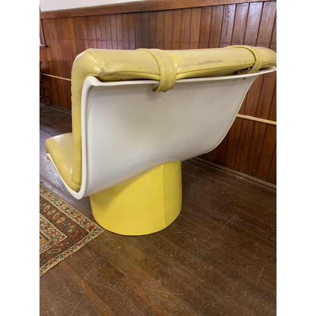 Plastic Mid Century Fiberglass Yellow Modern Wave Lounge Chair For Sale - Image 7 of 10