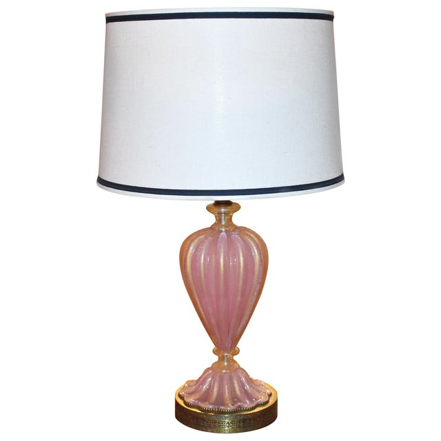 Italian Murano Pink and Gold Glass Table Lamp For Sale In Los Angeles - Image 6 of 6