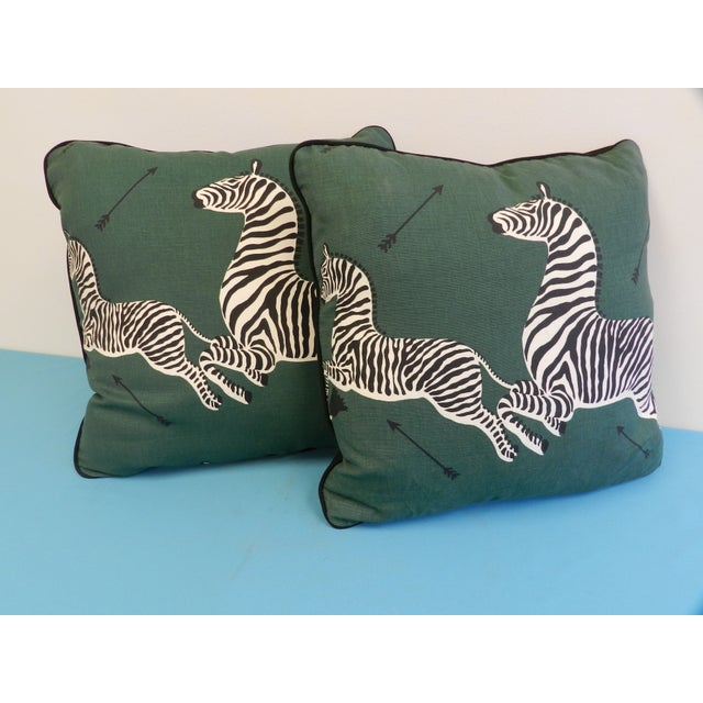 Contemporary Scalamandre Green Jumping Zebra Pillows - A Pair For Sale - Image 3 of 6
