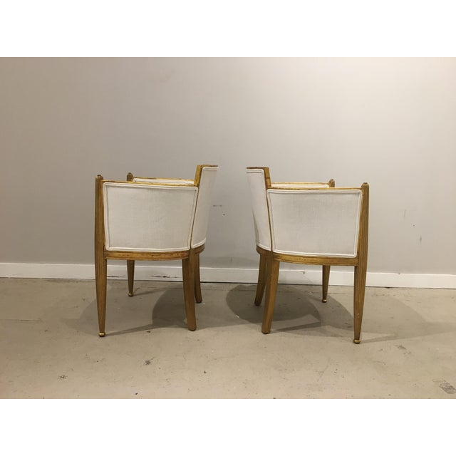 pair of art deco gilded chairs by paul follot For Sale - Image 5 of 9