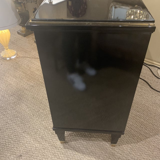Gold Hollywood Regency Modern History Home Ebonized Chest For Sale - Image 7 of 13