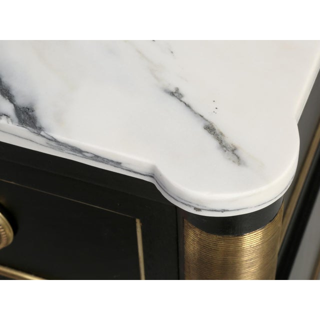 Wood French Louis XVI Ebonized Commode With Marble For Sale - Image 7 of 11