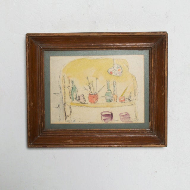 Modern Mid Century Vintage Still Life Drawing Yellow Purple Lithograph For Sale - Image 9 of 9