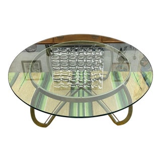 1970's Art Deco Inspired Tubular Metal Coffee Table For Sale