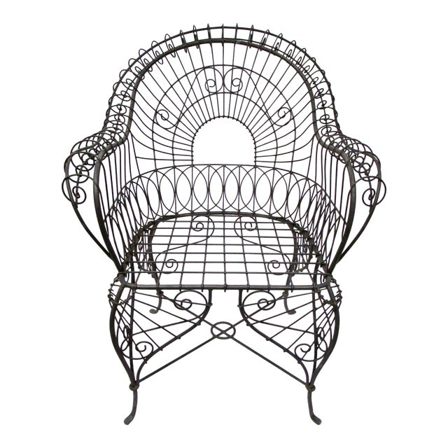 Victorian Style Black Wire Garden Chair - Image 1 of 6
