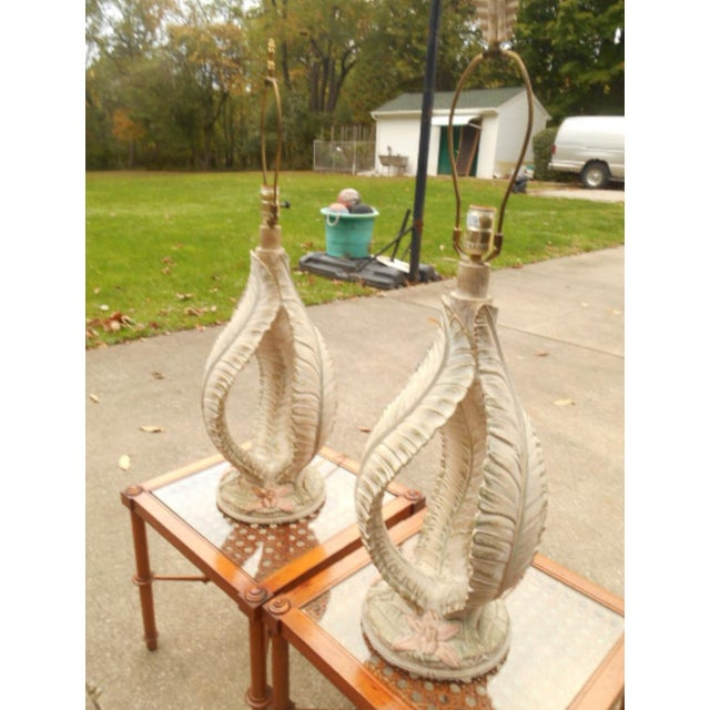 Mid 20th Century Reed Style Palm Beach Tree Leaf Lamp - a Pair For Sale - Image 5 of 6