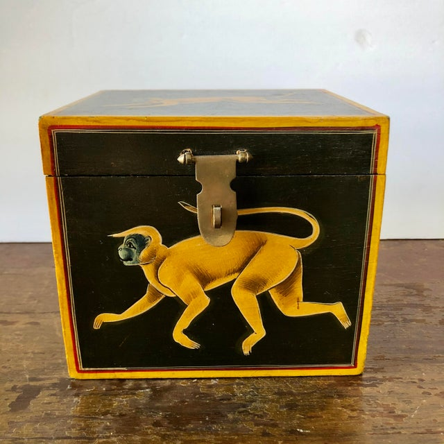 Hand painted monkey design wood chest.