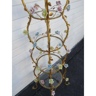 Italian Florentine Tole Gold Gilt Etagere With Porcelain Roses Preview