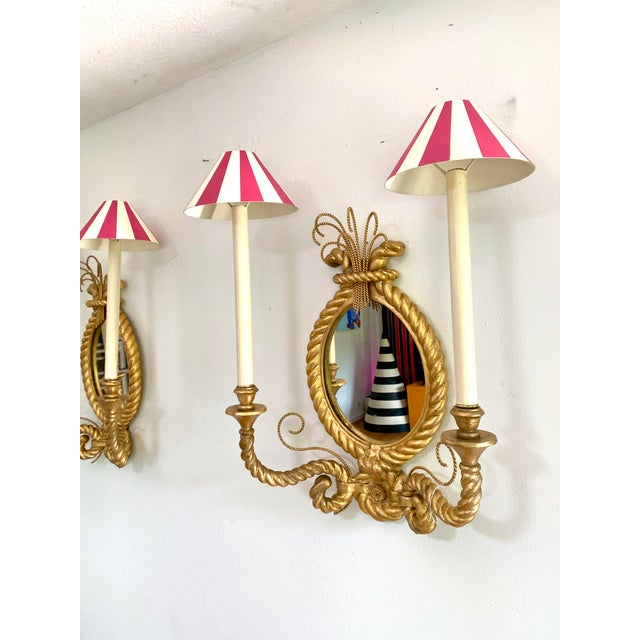 Hollywood Regency Custom Tromp L'oeil Gold Rope Mirror Sconce Light Fixtures - a Pair For Sale - Image 3 of 7
