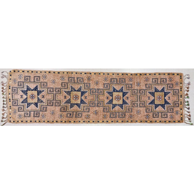 """Textile 1950s Boho Chic Peach and Taupe Wool Kurdish Runner - 3'8""""x12'2"""" For Sale - Image 7 of 7"""