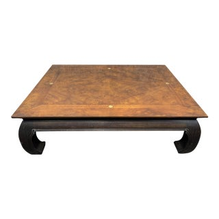 Drexel Heritage Ming Table With Burl Wood Top For Sale