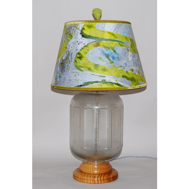 19th C Water Bottle Lamp W/ Hand Painted Lampshade - Image 2 of 6