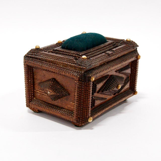19th Century French tramp art box with a dark green velvet pin cushion on hinged lid. Excellent antique condition with age...
