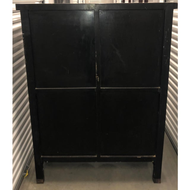 Black Vintage Chinese Black Lacquer Chinoiserie Cabinet For Sale - Image 8 of 9