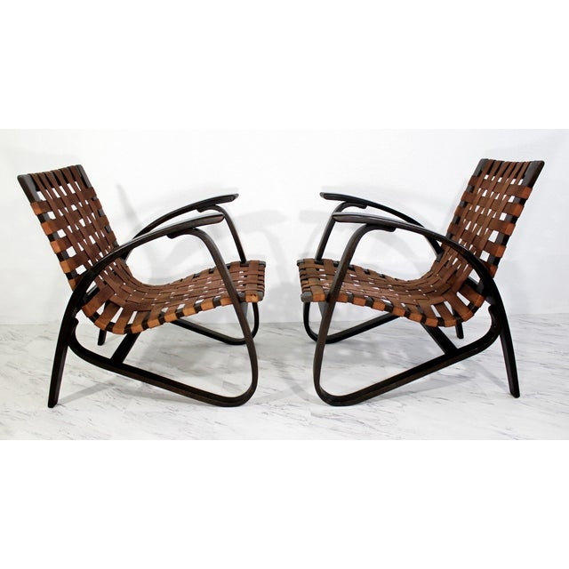 Brown Mid-Century Modern Jan Vanek Bentwood Easy Arm Chairs with Woven Straps - a Pair For Sale - Image 8 of 8