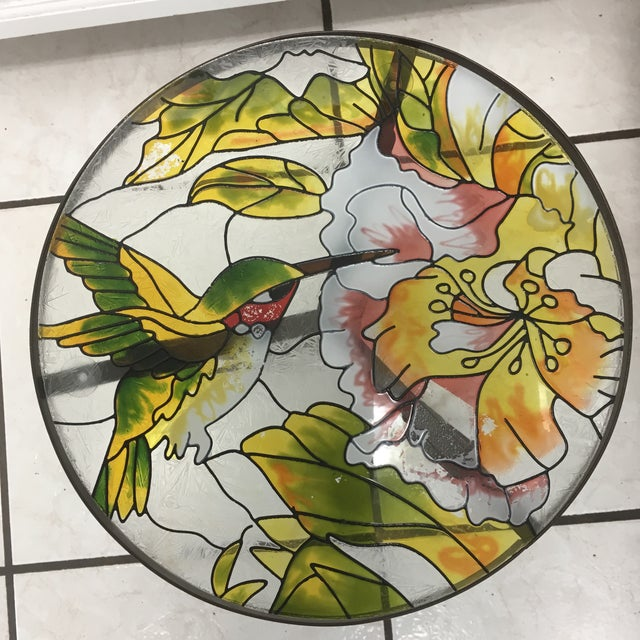 Hummingbird Stained Glass Accent Plant Stand Tables For Sale - Image 11 of 11