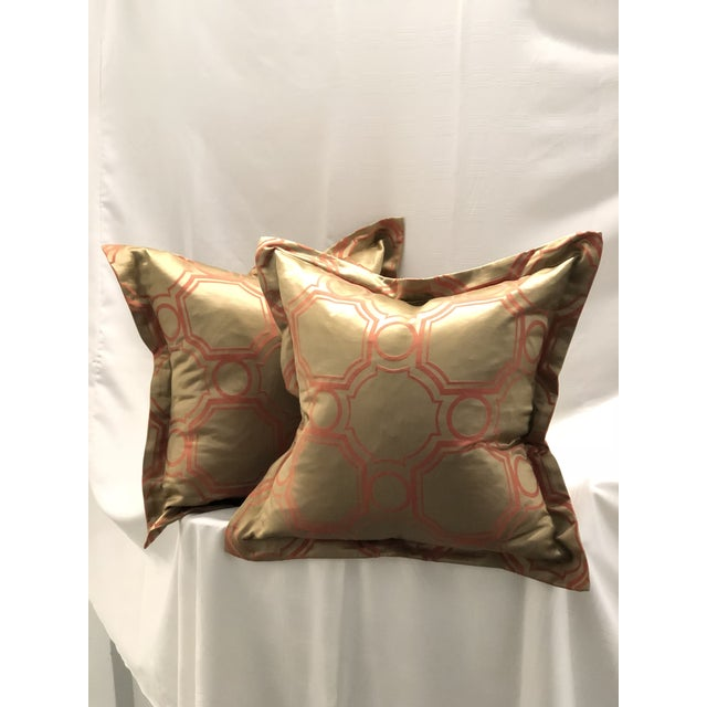 Gold Pair of Jim Thompson Flange Edge Pillows For Sale - Image 8 of 8