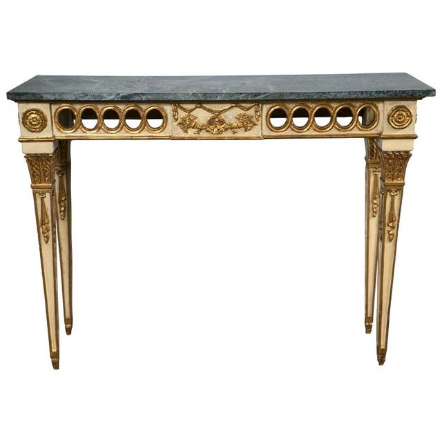 Italian Paint Decorated Marble-Top Console For Sale