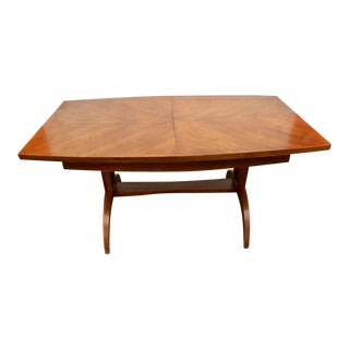 1960s Mid-Century Modern Chevron Top Wishbone Legged Expandable Dining Table For Sale