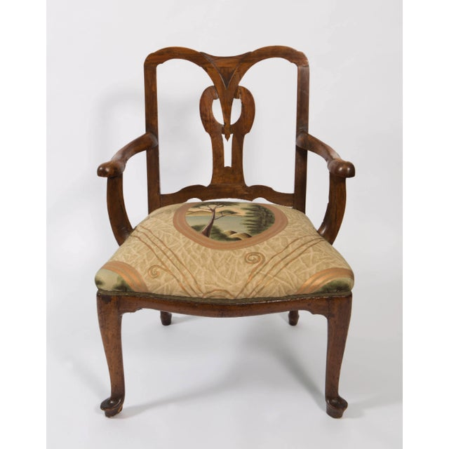 18th Century Vintage Walnut Italian Open Back Armchair For Sale - Image 4 of 13