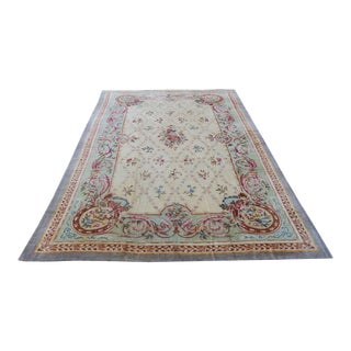 Vintage Hooked French Savonnerie Wool Rug - 10'X 16' For Sale