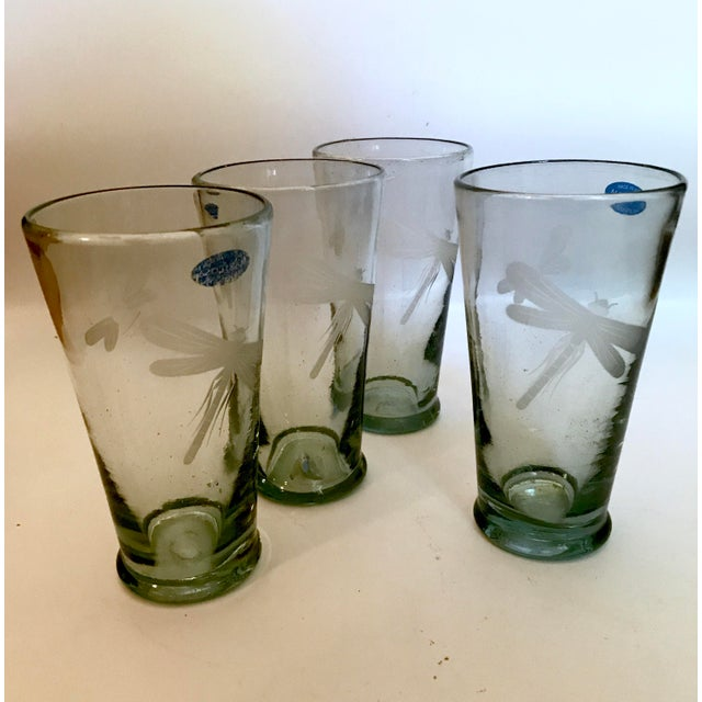 Glass Mariposa Handblown Highball Glasses With Etched Dragonfly and Bumblebee - Set of 4 For Sale - Image 7 of 7