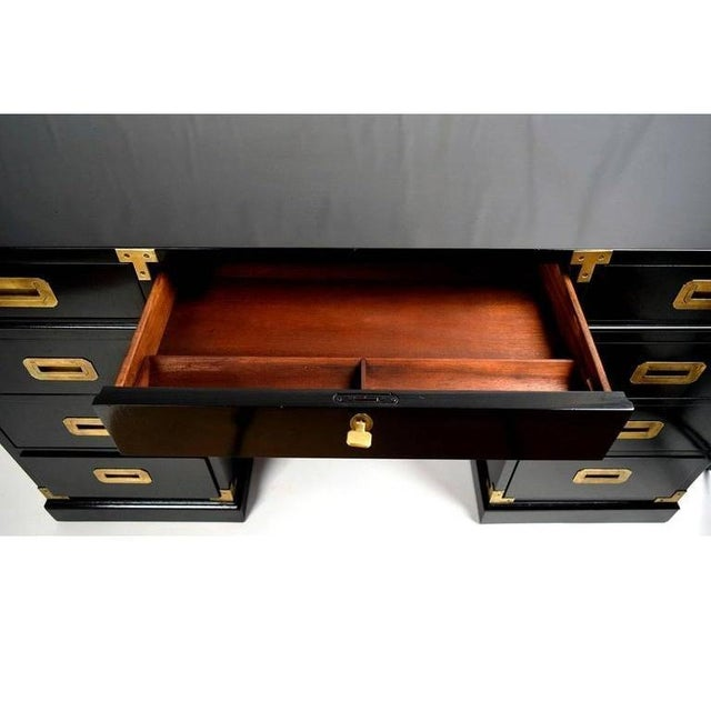 1950s Black Lacquered and Brass Campaign Desk For Sale - Image 5 of 6