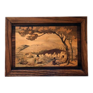 Landscape Scene India Mountains Pasture Couple & Animals Marquetry Picture For Sale