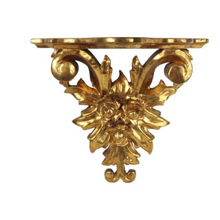 Italian Rococo Style Carved Floral Gilt Wood Wall Bracket For Sale
