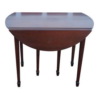 Mahogany Drop Leaf Folding Card Game Dining Extension Table With 4 Leafs For Sale