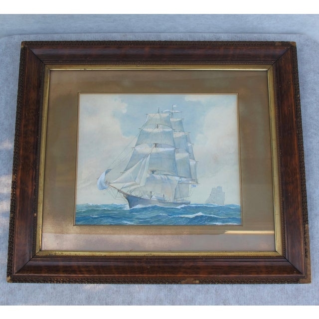 """Wonderful watercolor painting in wood frame with gold leaf liner; under glass Signed W. Hope Gold mat 3"""" x 2.5"""" With frame..."""
