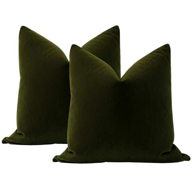 "2020s 22"" Olive Mohair Velvet Pillows - a Pair For Sale - Image 5 of 5"