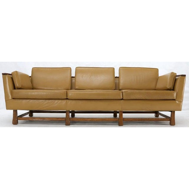 Brown Mid-Century Modern Tan Leather Oak Frame Sofa by Ranch Oak For Sale - Image 8 of 13