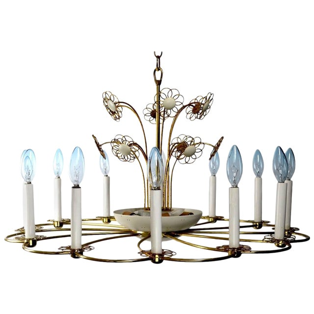 Floral Chandelier by Lightolier After Tynell For Sale