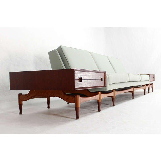Danish Mid Century Modern Sofa With Built in Teak End Side Tables For Sale - Image 10 of 10