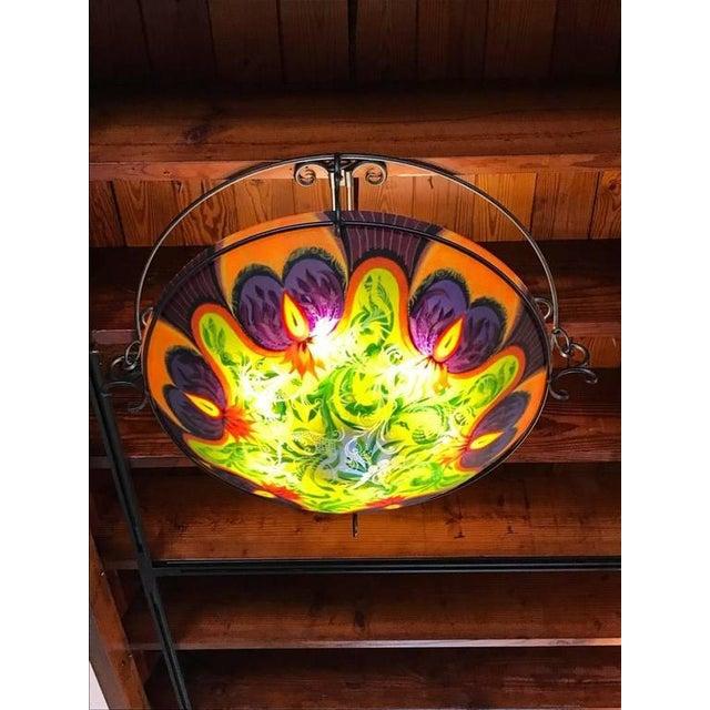 "Orange Ulla Darni ""Ibis-Purple"" Flush Mount Chandelier For Sale - Image 8 of 8"