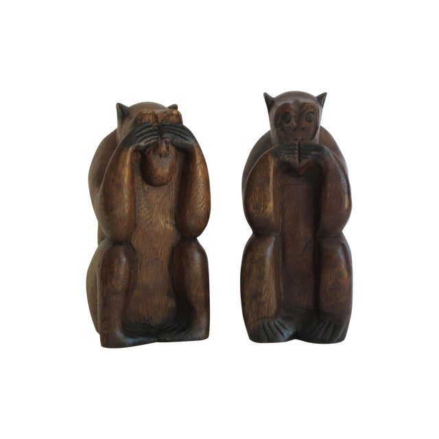 Wooden Monkeys - Pair - Image 1 of 8