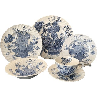 Royal Staffordshire Charlotte Blue & White China - Set for 32